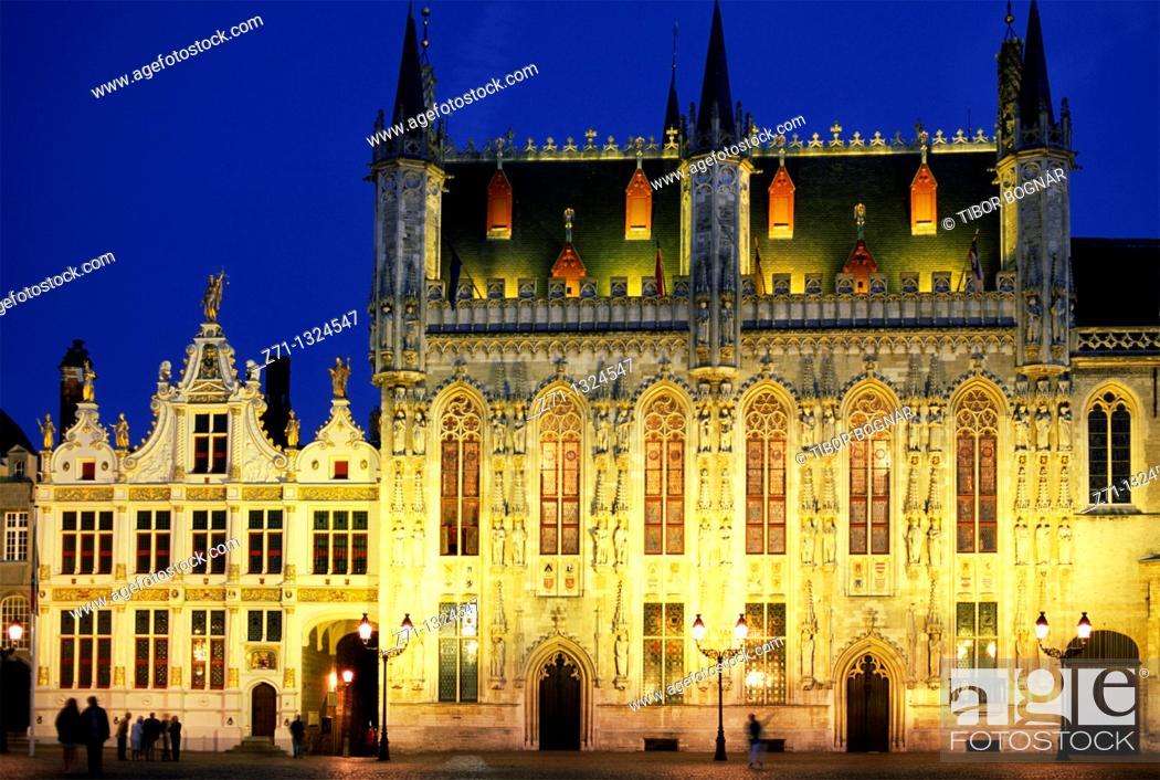 Stock Photo: Belgium, Bruges, City Hall.