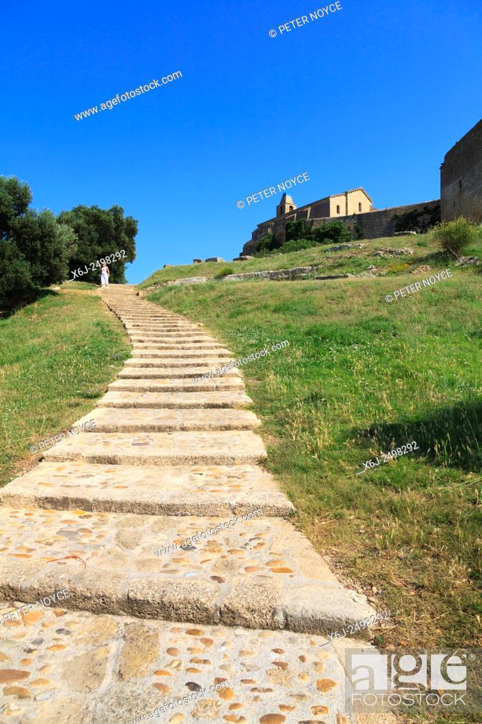 Stock Photo: Sloping steps leading up to Church of Saint Sauveur at Fos-sur-Mer in France.