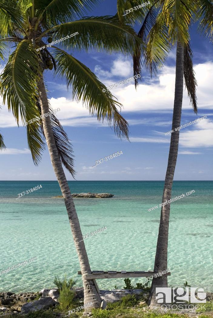 Stock Photo: Palms in front of the beach. Fernandez Bay Village resort, Cat Island. Bahamas.