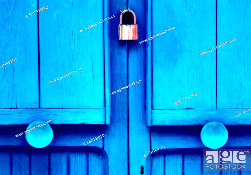 Stock Photo: Close-Up of locked wooden door. Burano. Italy.