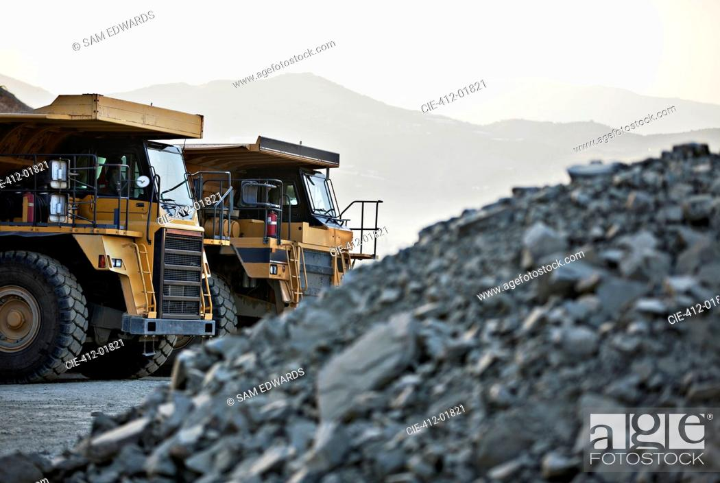 Stock Photo: Machinery parked in quarry.