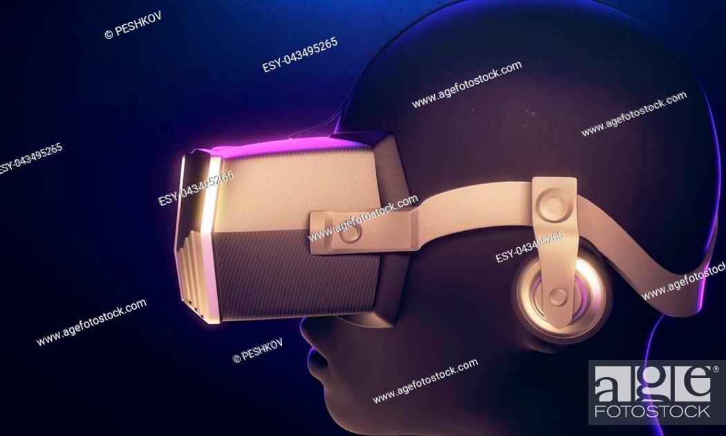 Photo de stock: Robot with virtual reality glasses on blue background. Technology concept. 3D Rendering.
