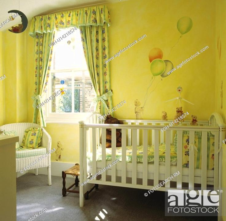 White Cot And Green Yellow Curtains In Nursery