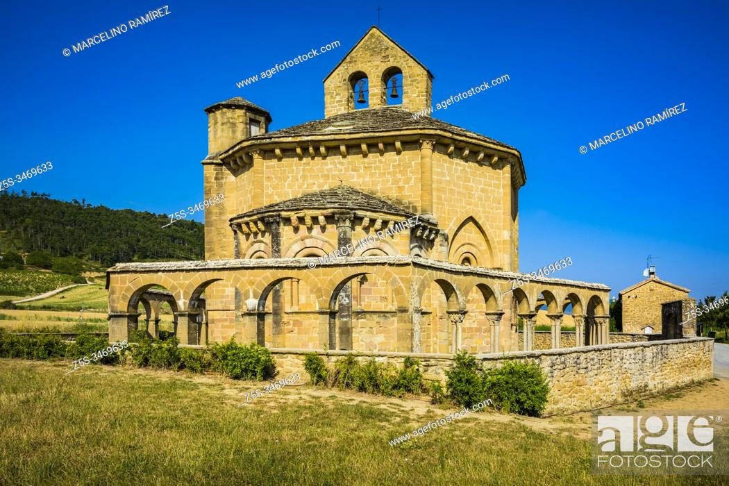 Stock Photo: Hermitage Saint Mary of Eunate, ( 12th century ) Way of Saint James, Muruzábal, Navarre, Spain, Europe.