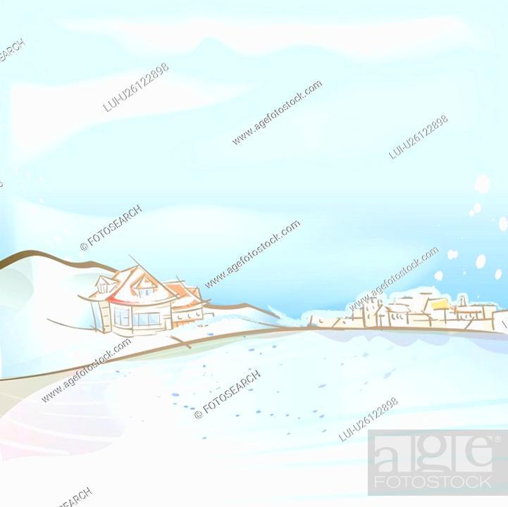 Stock Photo: village, season, hill, snow, winter, house, background.