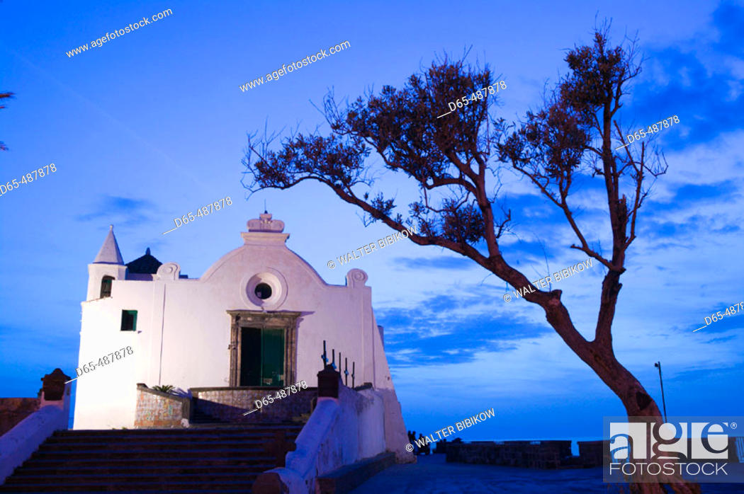 Stock Photo: Santa Maria del Saccorso Church - Evening. Ischia. Forio. Bay of Naples. Campania. Italy.