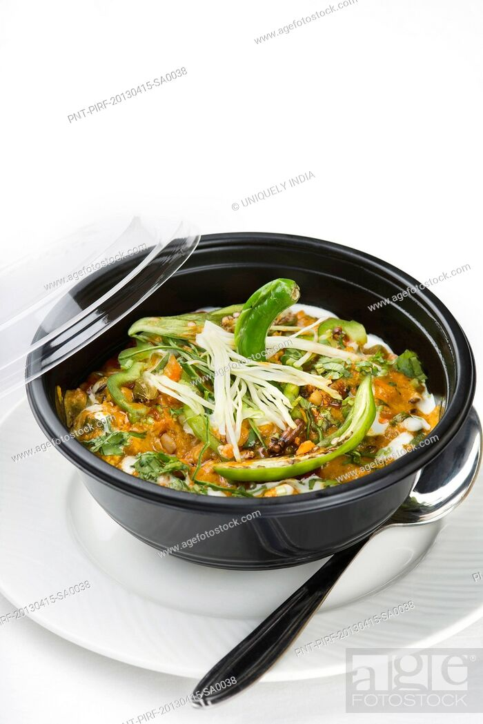 Stock Photo: Subz Handi served in a bowl.