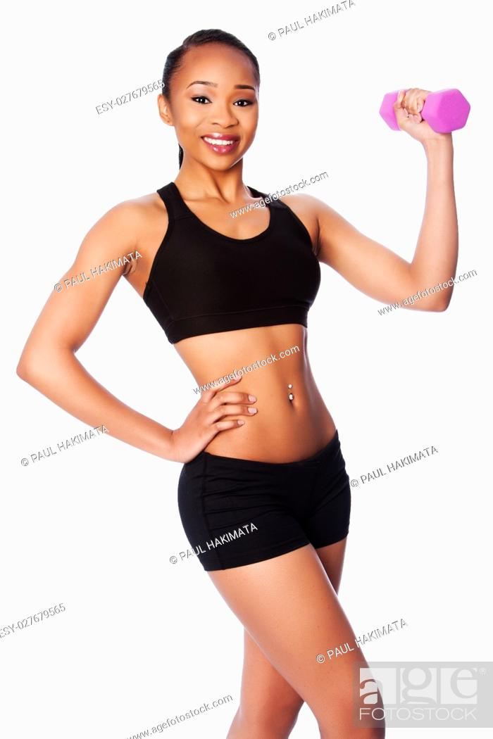 Stock Photo: Beautiful healthy happy smiling black asian woman with dumbbell weight workout and toned body.