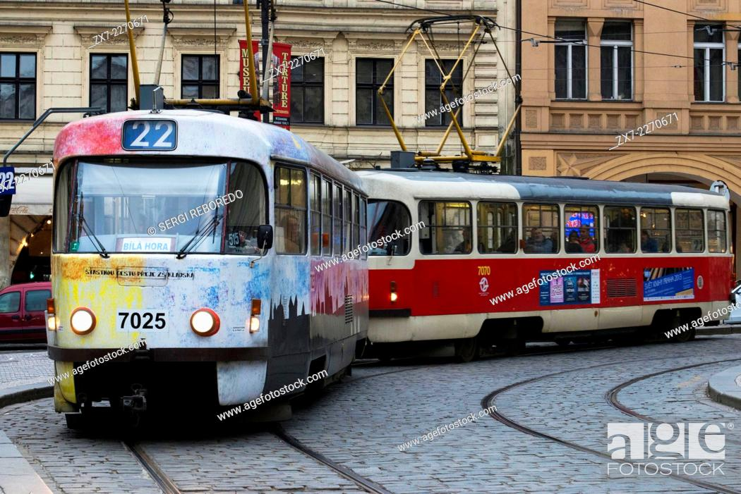 Stock Photo: Czech Republic, Prague, View of tram on old town street, cobble stone.