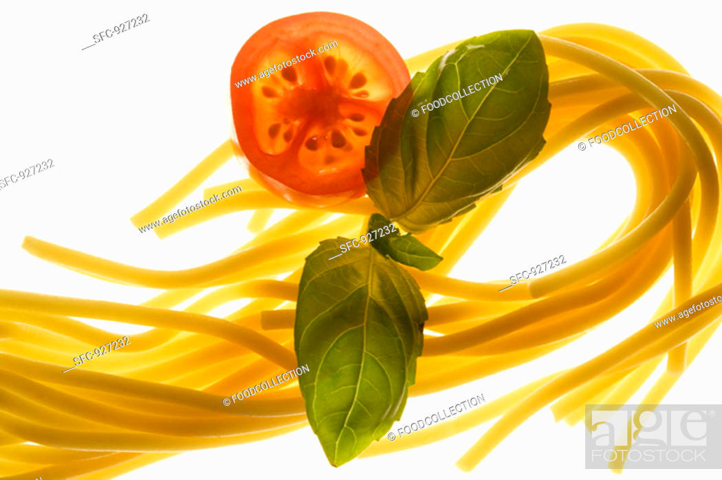 Stock Photo: Spaghetti, tomato and basil.