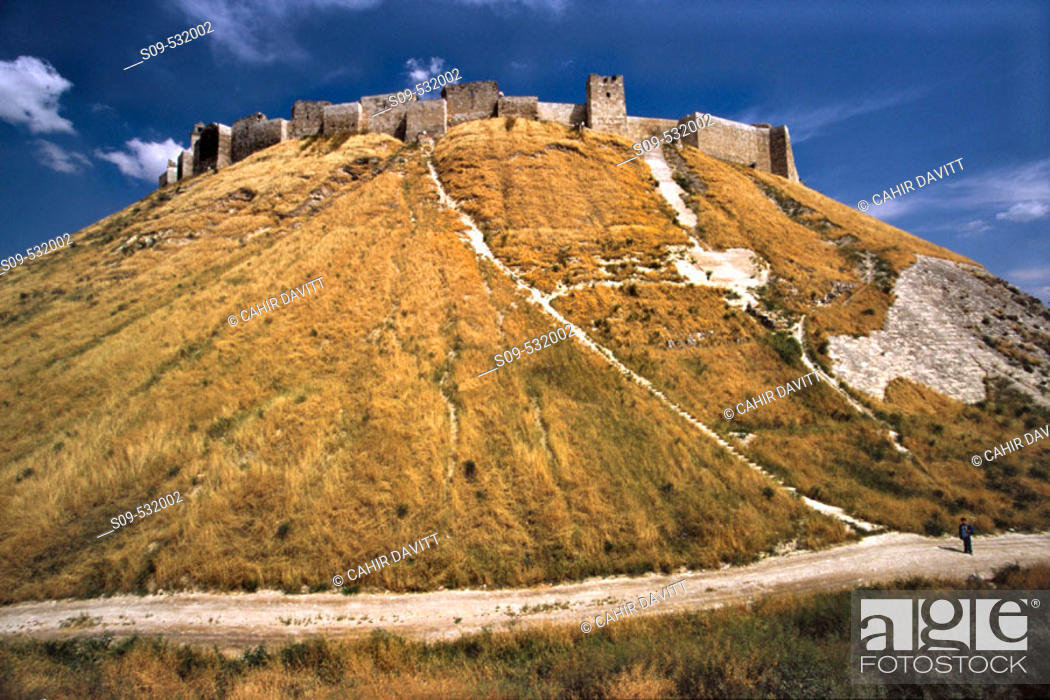 Stock Photo: The Great Citadel of Aleppo with the Glacis defensive mound in the foreground in Aleppo, Halab, Syria.