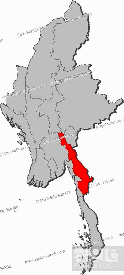 Stock Vector: Map of Myanmar with the provinces, Kayin is highlighted.