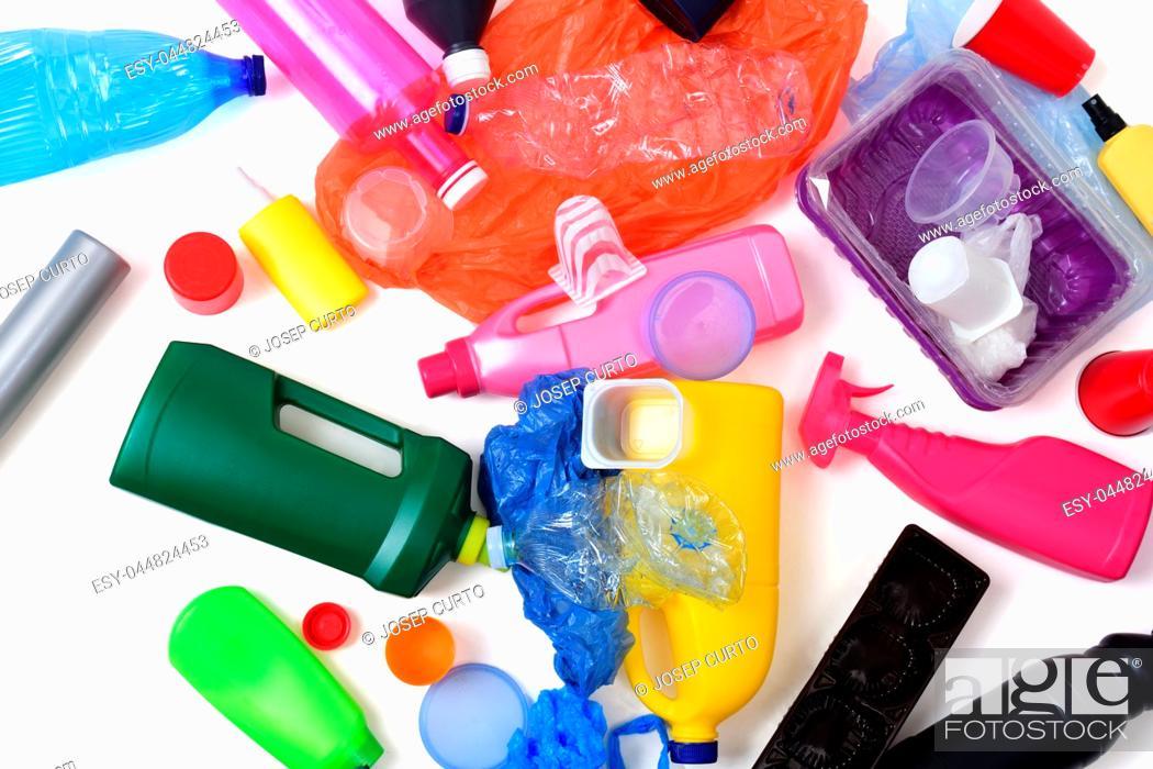 Stock Photo: plastic garbage isolated on white.