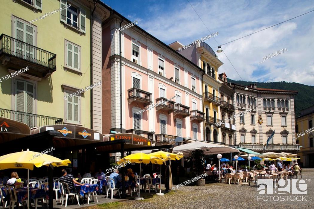 Stock Photo: Switzerland, Ticino, Lake Maggiore, Locarno, buildings on Piazza Grande.