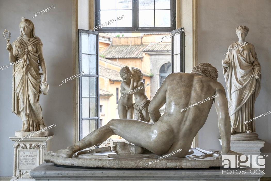 Stock Photo: The Hall of the Galatian with the sculpture of the Dying Galatian, a room in the Palazzo Nuovo, part of the Capitoline Museums, Rome, Italy.