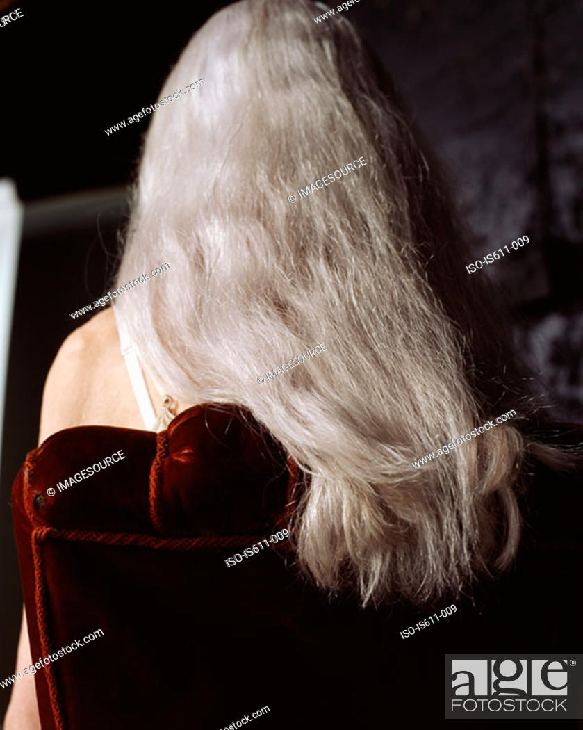 Stock Photo: Woman with long grey hair.