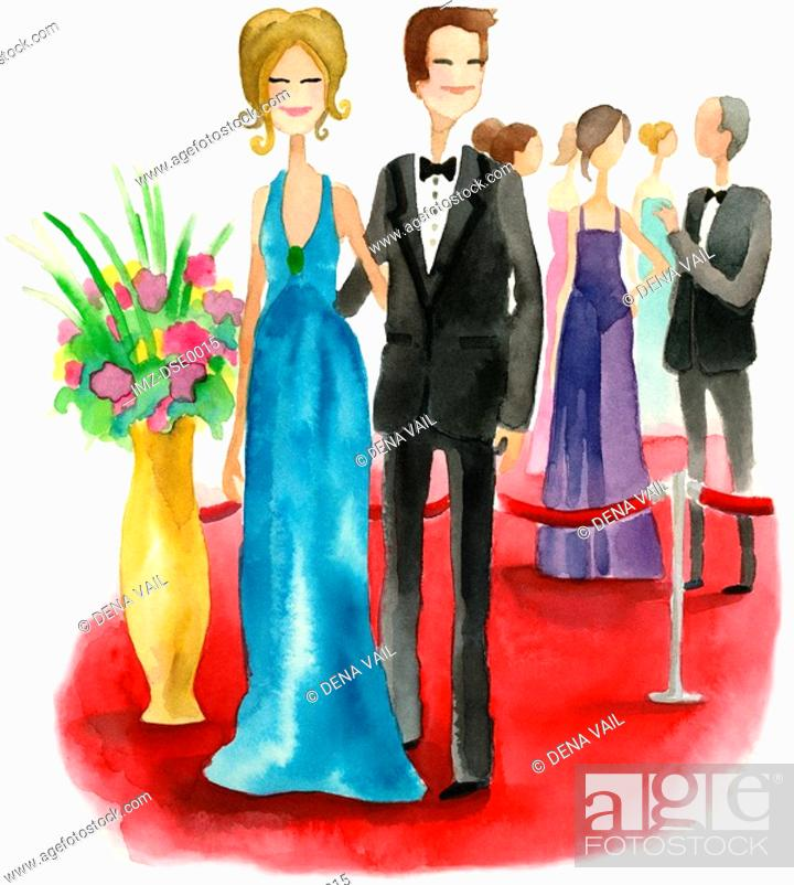 Stock Photo: A watercolor illustration of a couple on the red carpet.
