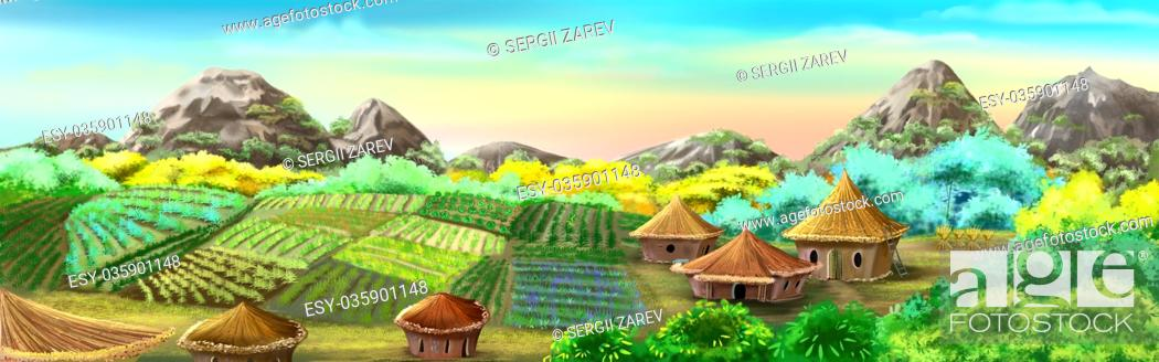 Stock Photo: Digital painting of the Chinese Village and Rice Fields. Panorama with small houses, plants and mountains.