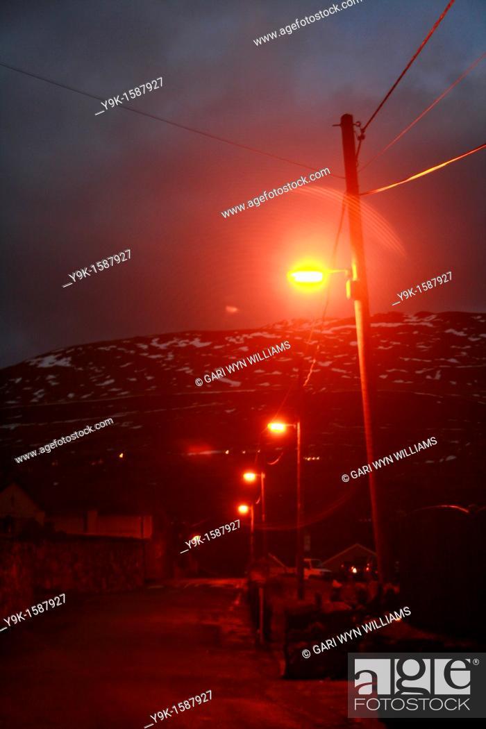 Stock Photo: Night image of rural village lane of Deiniolen, Wales, UK.