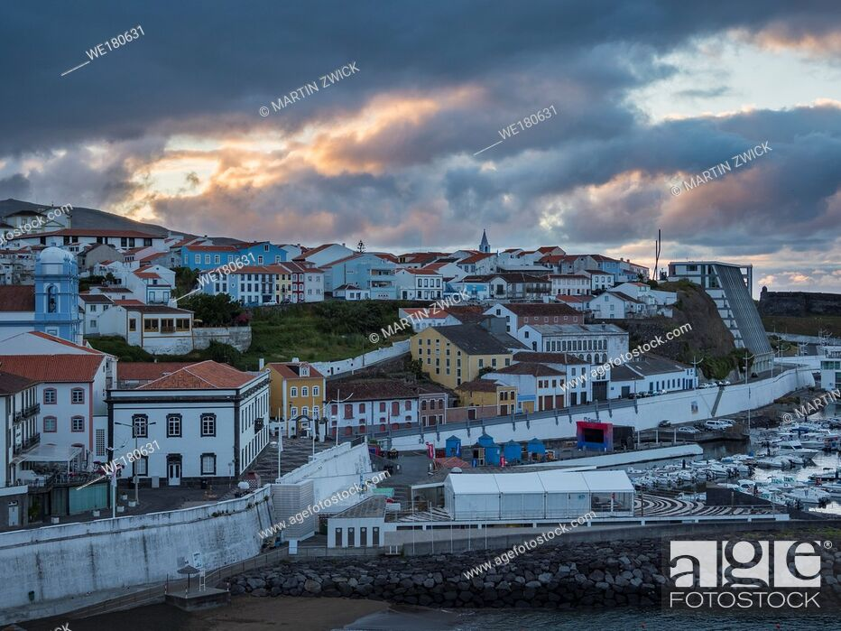 Stock Photo: Cityscape. Capital Angra do Heroismo, the historic center is part of UNESCO world heritage. Island Ilhas Terceira, part of the Azores (Ilhas dos Acores) in the.