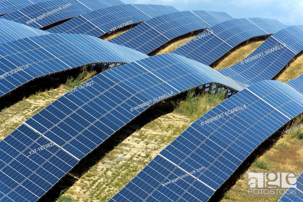 Stock Photo: Europe, France, Alpes de Haute Provence region Puimichel, the Mees Solar Farm, solar panels.