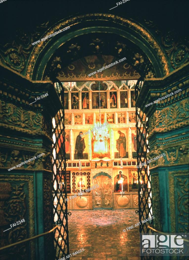Stock Photo: Interior with the iconostasis in the Annunciation Cathedral in the Moscow Kremlin. Old Russian Architecture . Photograph. Old Russian Art.