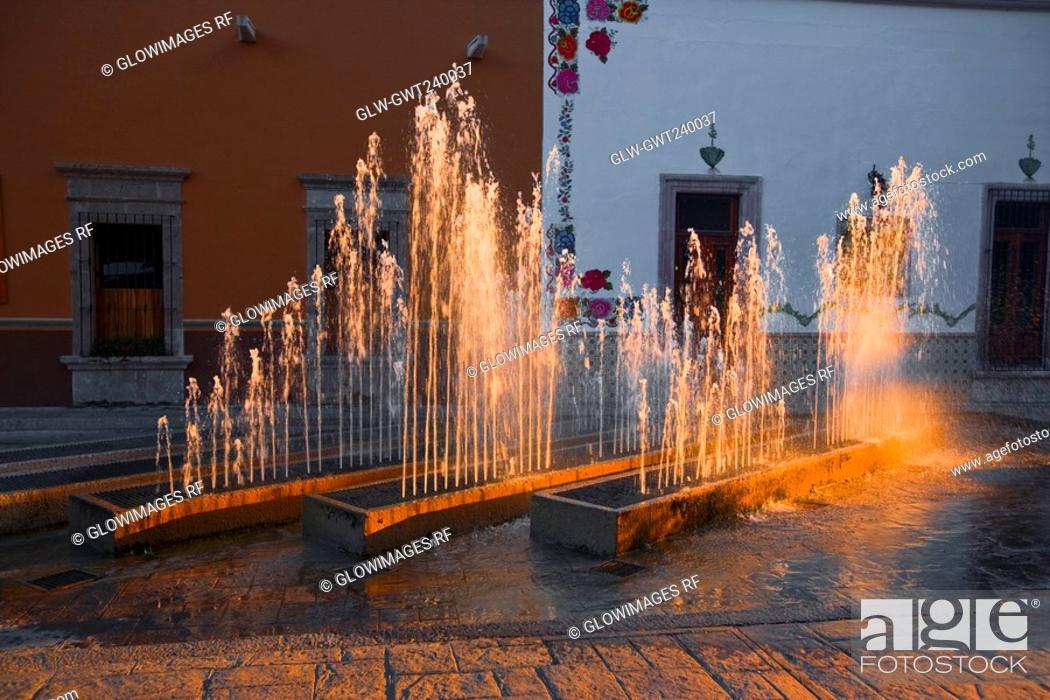 Stock Photo: Fountains in front of a building, San Jose De Gracia, Aguascalientes, Mexico.