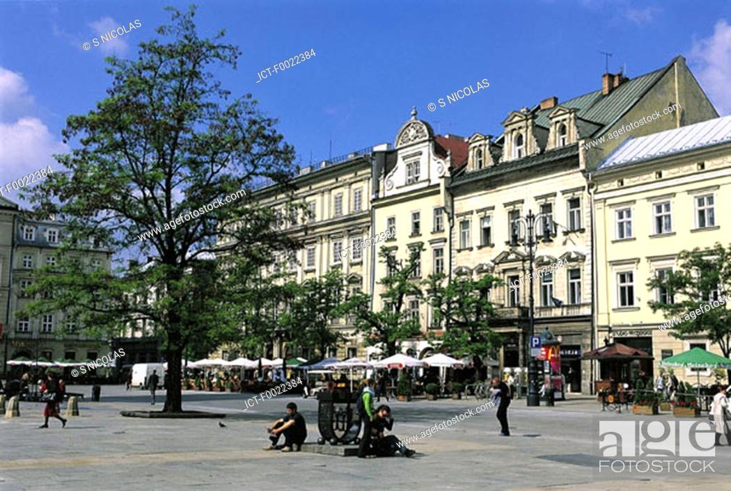 Stock Photo: Poland, Kracow, market place.