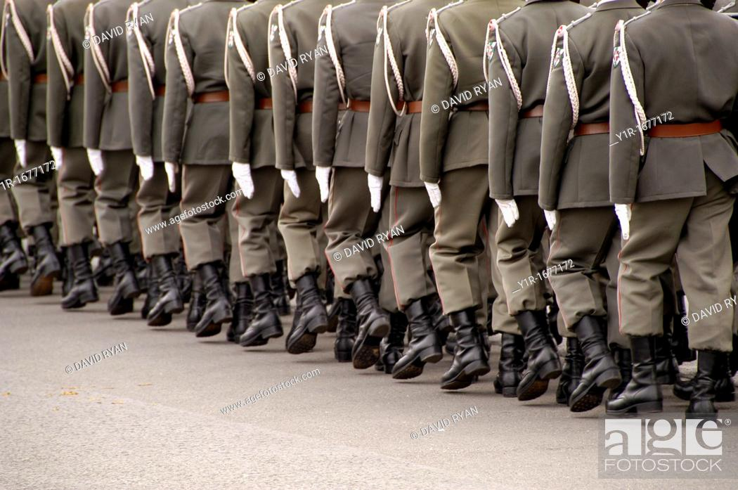 Stock Photo: Austria, Vienna, Heldenplatz Heroes Square, Army Honor Guard for visiting generals.