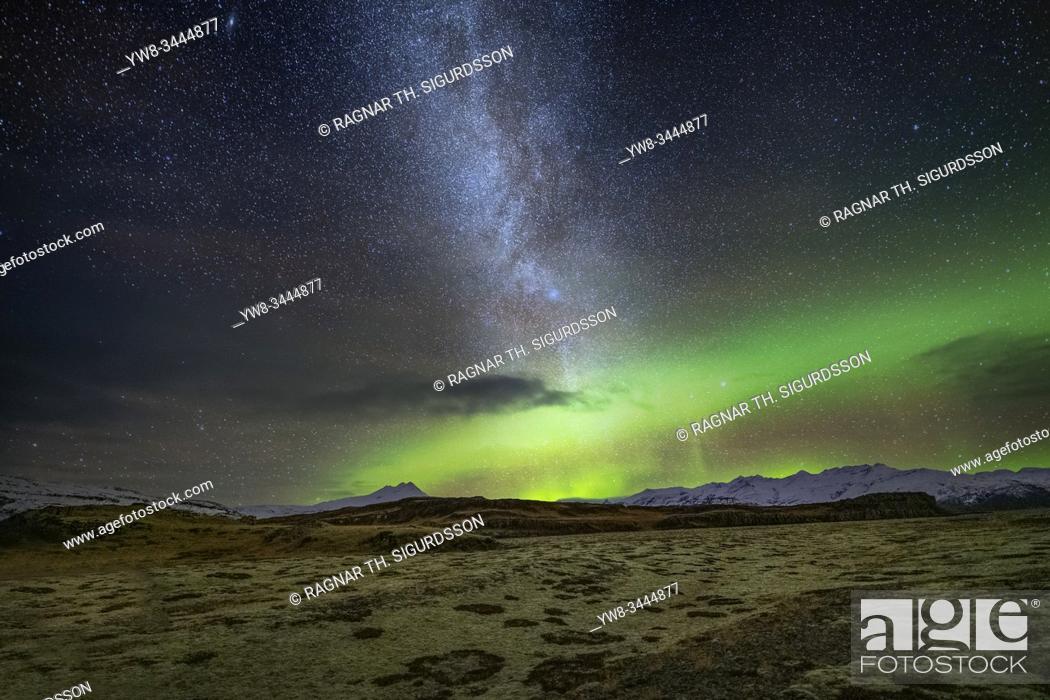Stock Photo: Aurora Borealis and the Milky way, Heinabergsjokull Glacier, Vatnajokull National Park, Iceland.