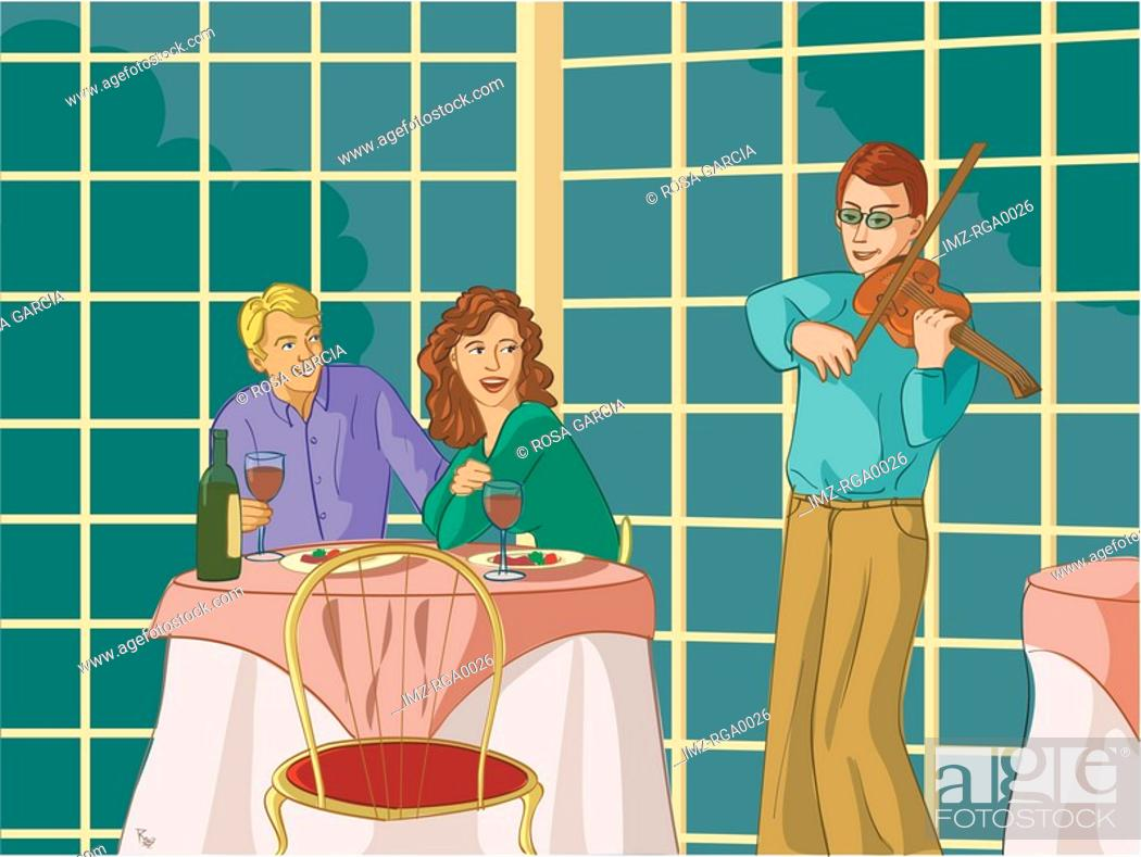 Stock Photo: A couple being entertained by a violinist at a restaurant.
