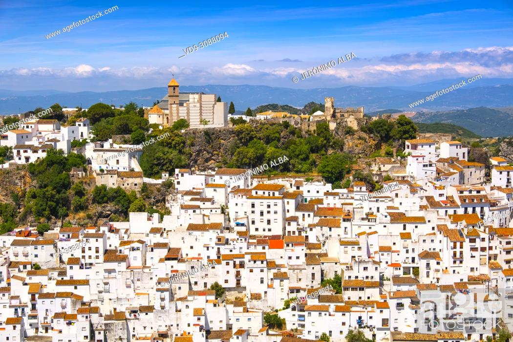 Stock Photo: White village of Casares. Costa del Sol, Málaga province. Andalusia, Southern Spain Europe.