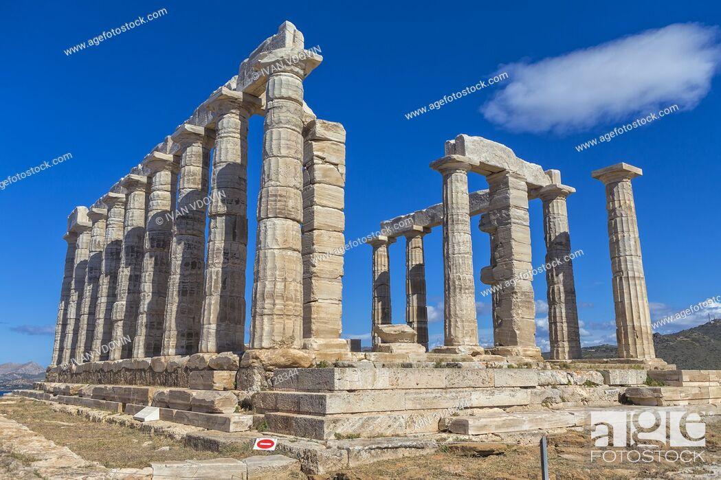 Stock Photo: Poseidon temple (440 BC), Cape Sounio, Sounion, Attica, Greece.