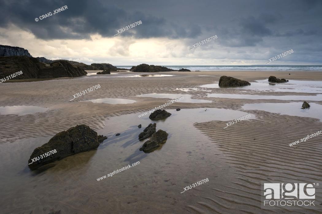 Stock Photo: Combesgate Beach on the North Devon coast at Woolacombe, England.