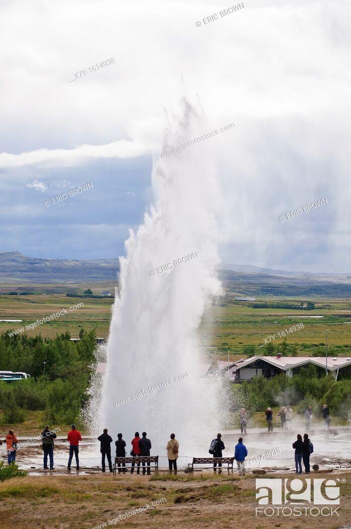 Stock Photo: Strokkur geyser erupts  Haukadalur, Iceland.