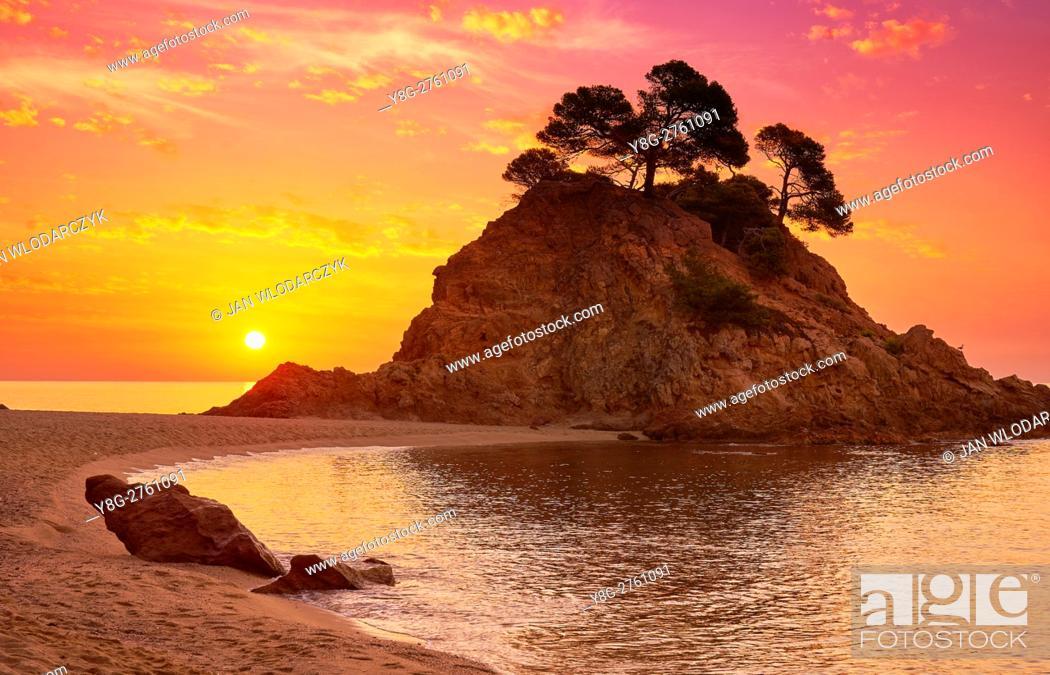 Stock Photo: Sunrise at Cap Roig Beach, Costa Brava, Spain.