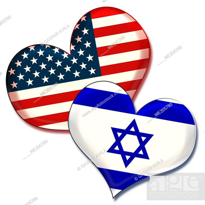 Stock Vector: USA and Israel hearts. Graphic design about the friendship and ties between these countries.