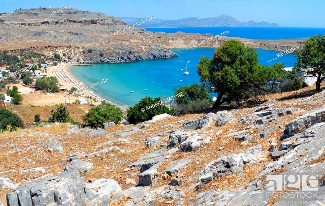 Stock Photo: A view of the beach of Lindos from the hillside Island of Rhodes Greece.
