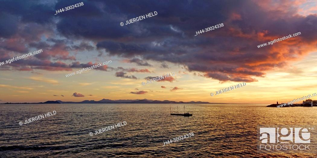 Stock Photo: View from Playa Blanca to Fuerteventura at sunset, Lanzarote, Canary Islands, Spain.