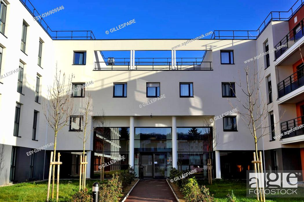 Stock Photo: new building in France in the department of Yvelines with Saint-Cyr military school the school.