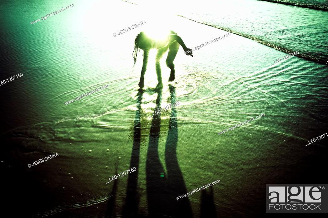 Stock Photo: The live in the beach Asturias Spain.