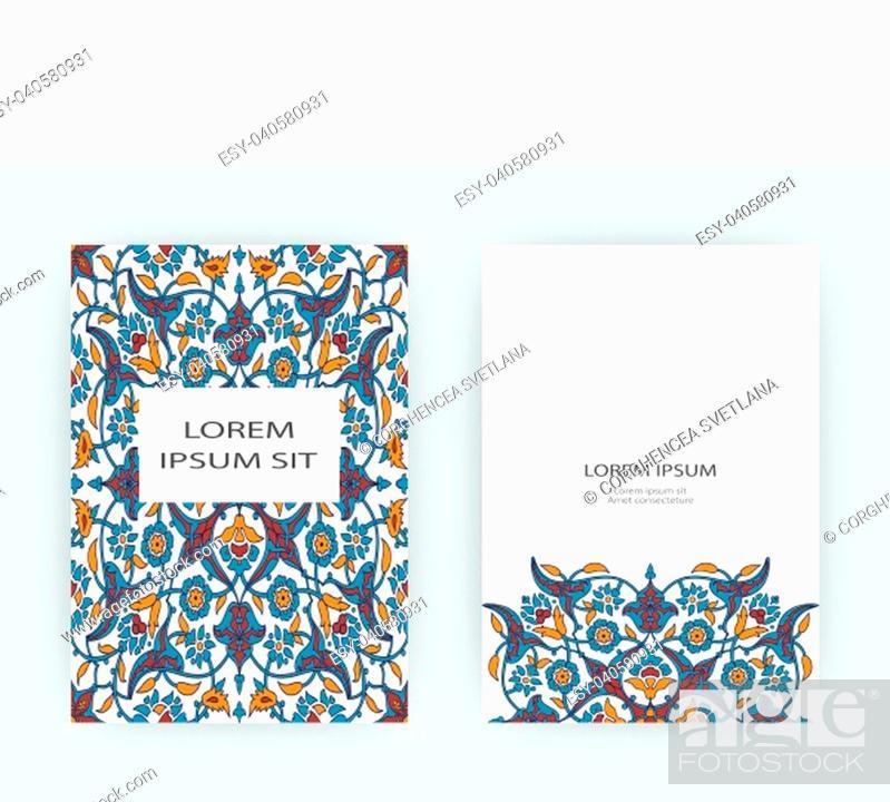 Stock Vector: Arabesque floral decoration print, border design template vector. Oriental flowers style pattern. Eastern motif element. Ornamental frame illustration.