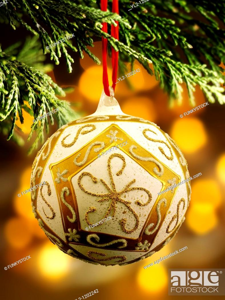 Stock Photo: Traditional Christmas tree bauble decoration.