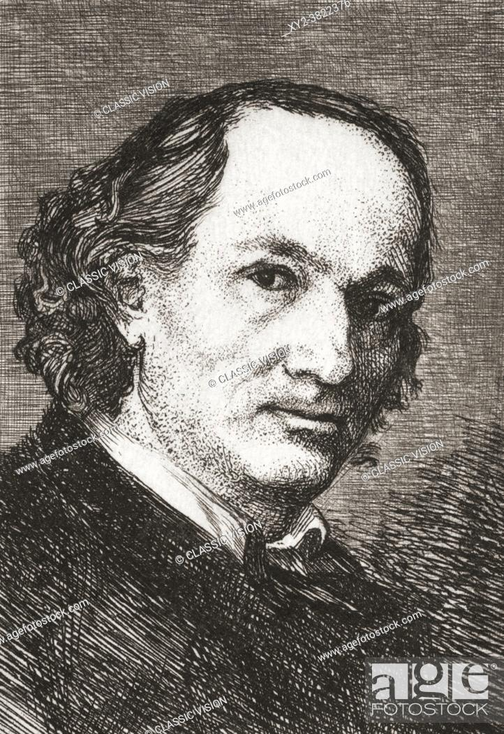 Stock Photo: Charles Baudelaire. Full name, Charles Pierre Baudelaire, 1821 1867. French poet, essayist and art critic. After a work by Felix Bracquemond.