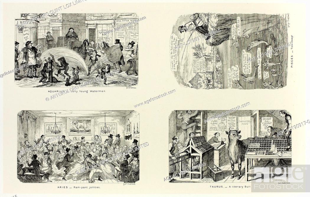 Stock Photo: Aquarius, Jolly Young Watermen from George Cruikshank's Steel Etchings to The Comic Almanacks: 1835-1853 (top left), 1846, printed c.
