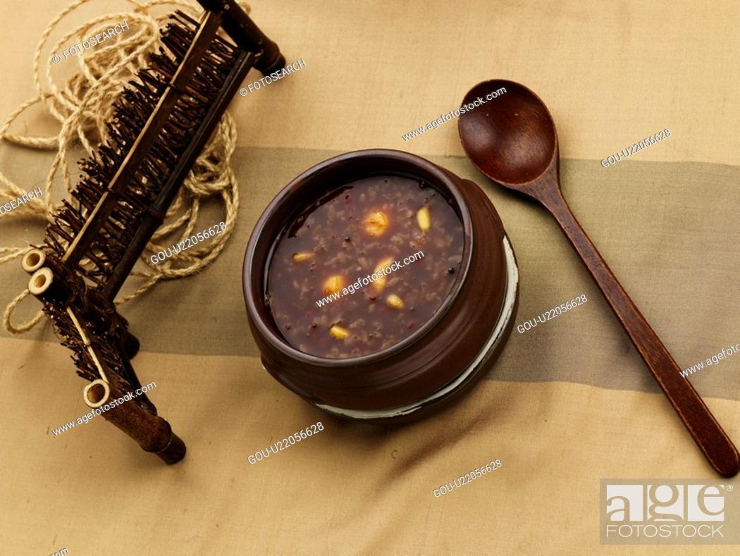 Stock Photo: red bean gruel, cuisine, gruel, korean cuisine, korean food, vassel, food.
