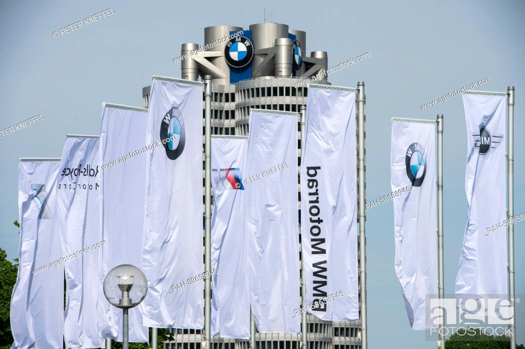 Flags with the logo of German automobile manufacturing