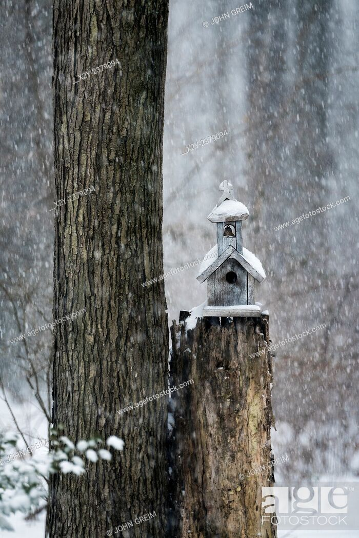 Stock Photo: Charming birdhouse chapel in a winter snow storm.