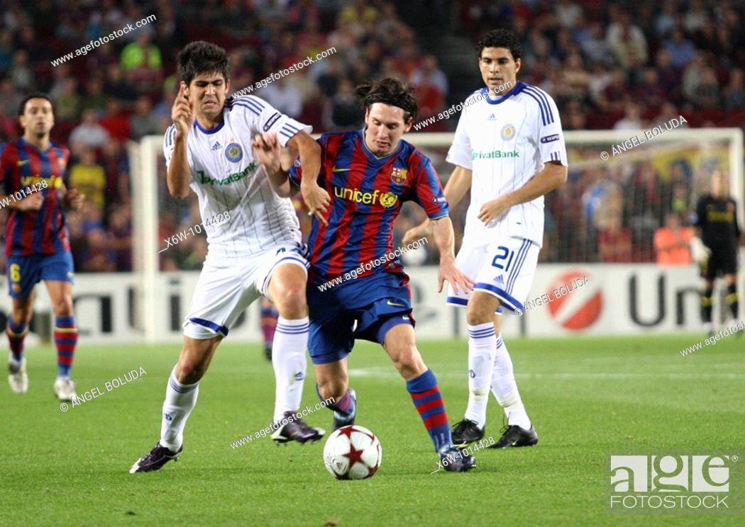 Stock Photo: Barcelona, Camp Nou Stadium, 29/09/2009, UEFA Champions League, FC Barcelona vs. FC Dynamo Kyiv, Leo Messi.