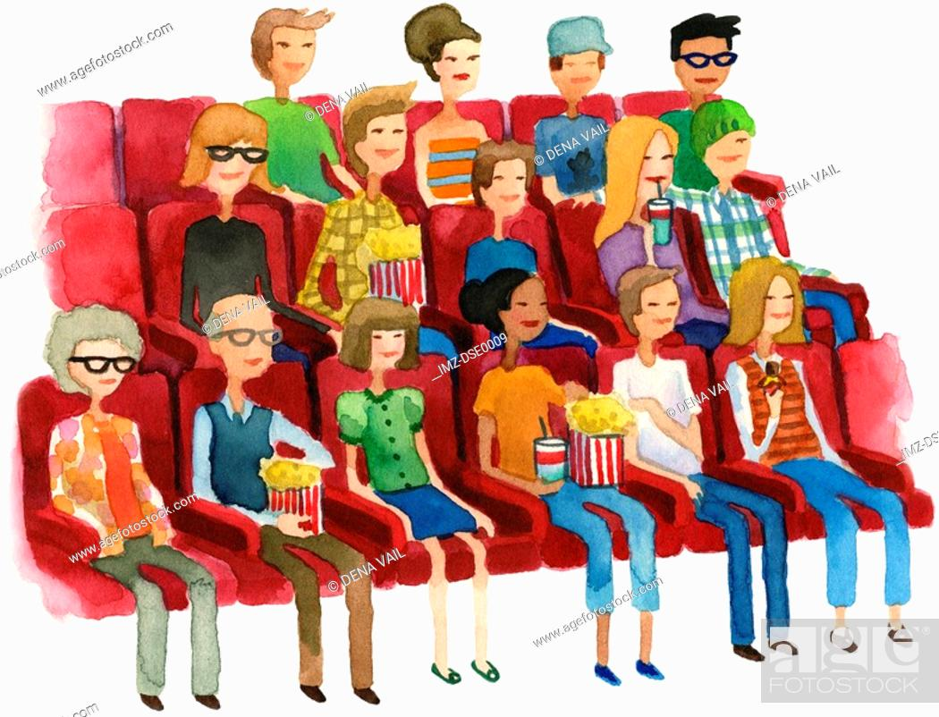 Stock Photo: A watercolor illustration of people in a movie theater.